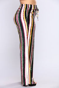 Yeva Velvet Striped Pants - Multi Color