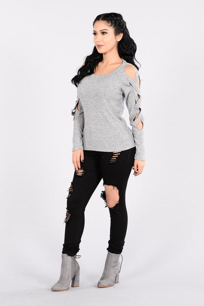 Can't Catch A Break Sweater - Heather Grey