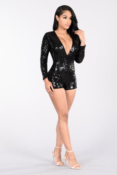 Flashy Ways Romper - Black