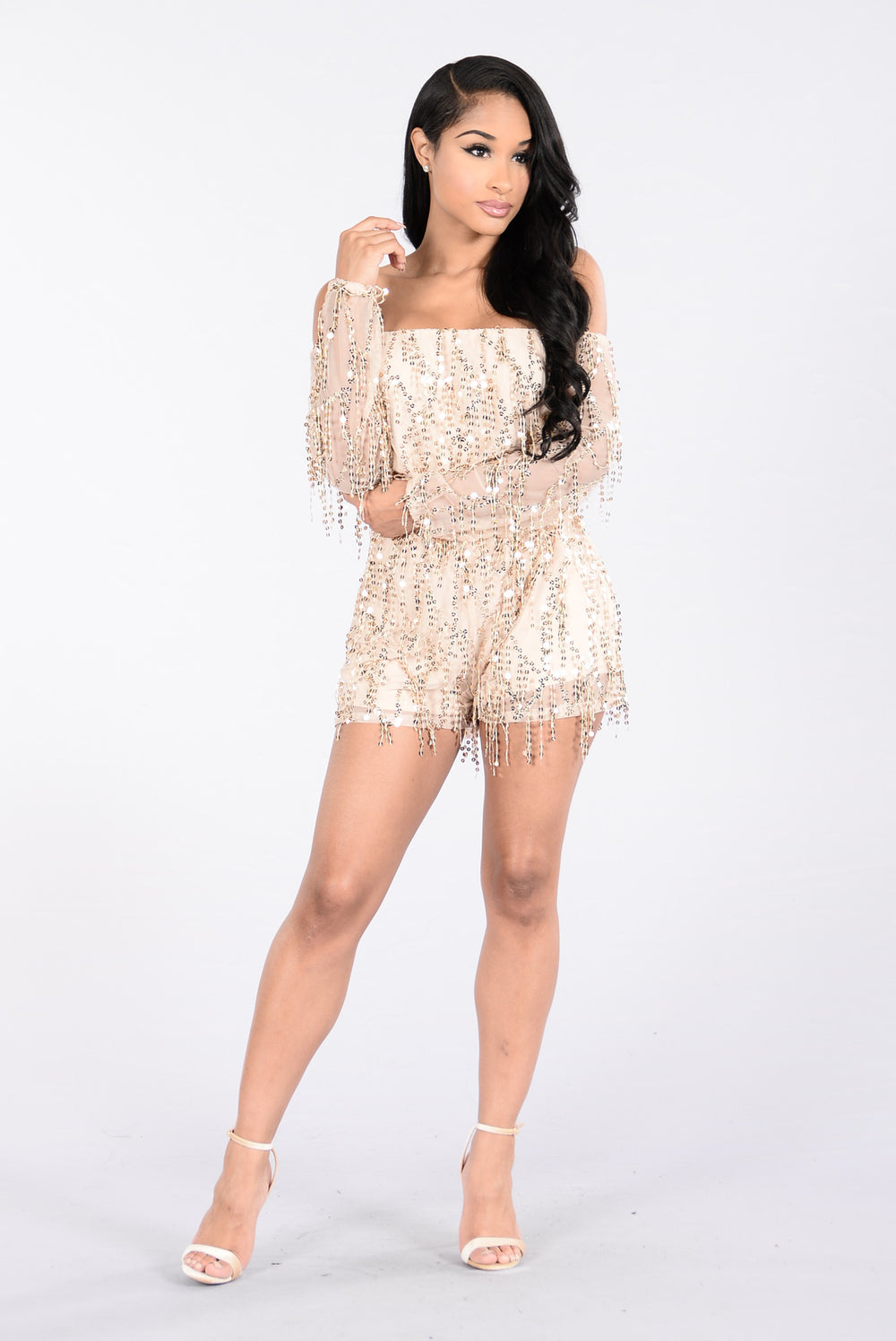 Coffee House Date Romper - Gold/Gold