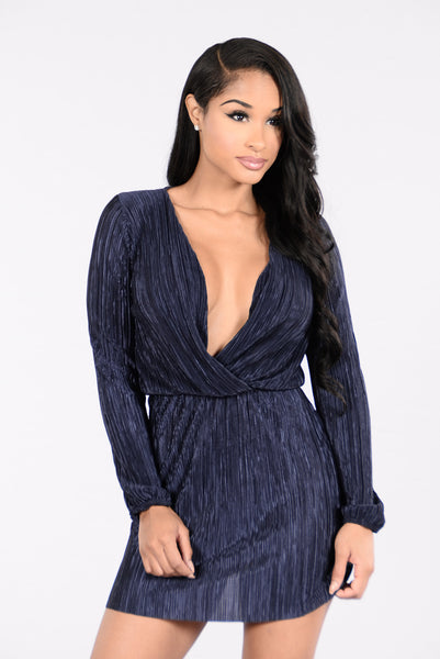 Deep End Plunge Dress - Navy