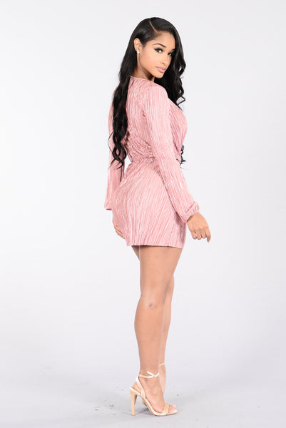 Deep End Plunge Dress - Rose