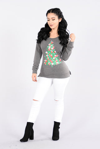 Lit Under The Tree Holiday Sweater - Charcoal