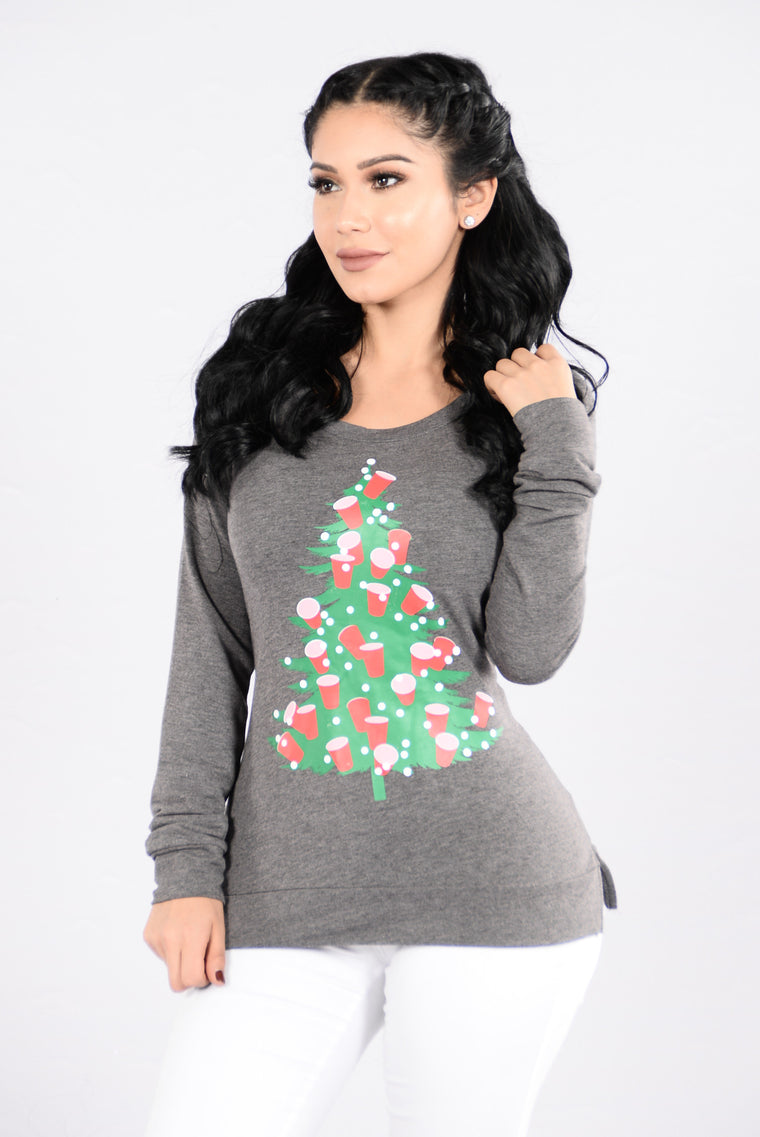 Lit Under The Tree Holiday Sweater Charcoal Graphic Tees Fashion Nova