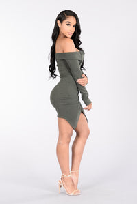 Cruise Control Dress - Olive Angle 2