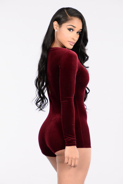 Lose My Mind Romper - Burgundy