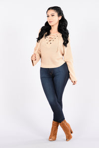 Running With The Night Sweater - Beige Angle 4