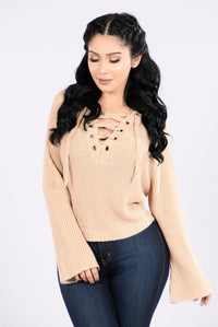 Running With The Night Sweater - Beige Angle 1