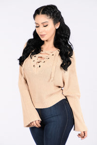 Running With The Night Sweater - Beige Angle 3