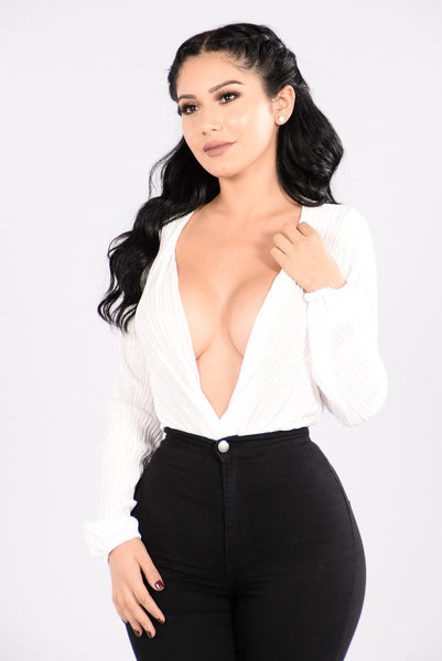 Deep End Plunge Bodysuit - Ivory
