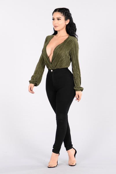 Deep End Plunge Bodysuit - Olive