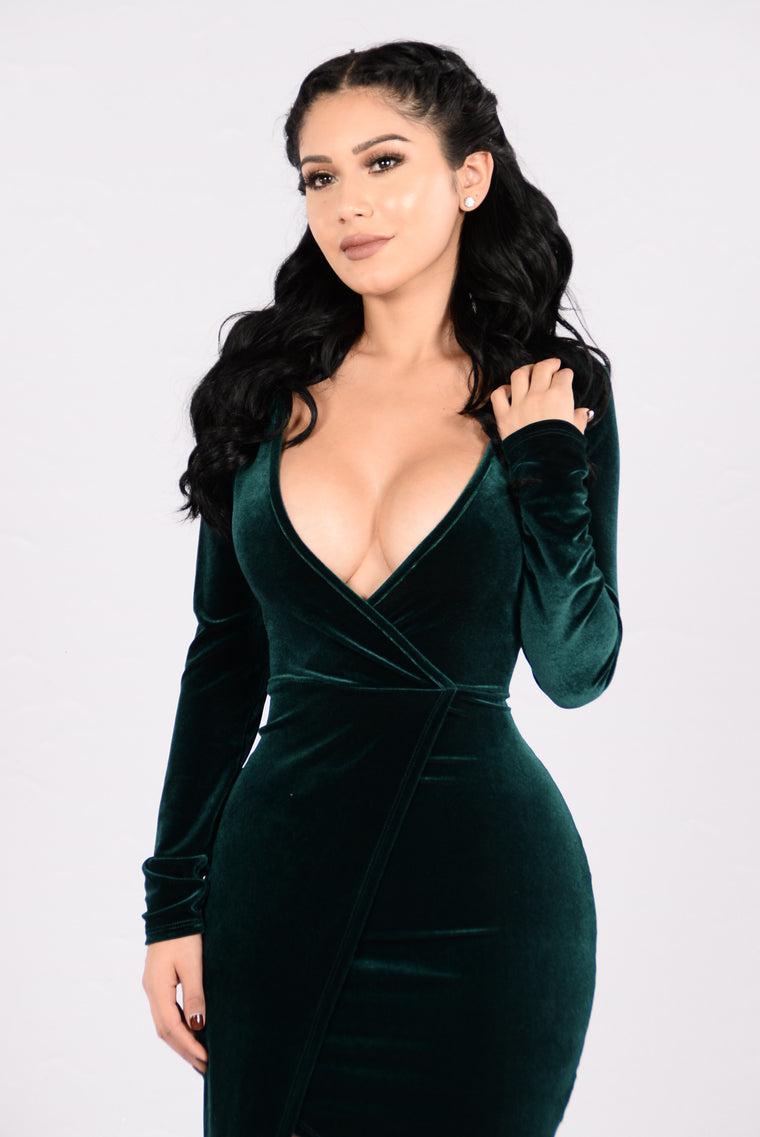 Burning Heart Dress - Forest Green