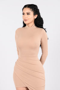 One On One Dress - Taupe Angle 4