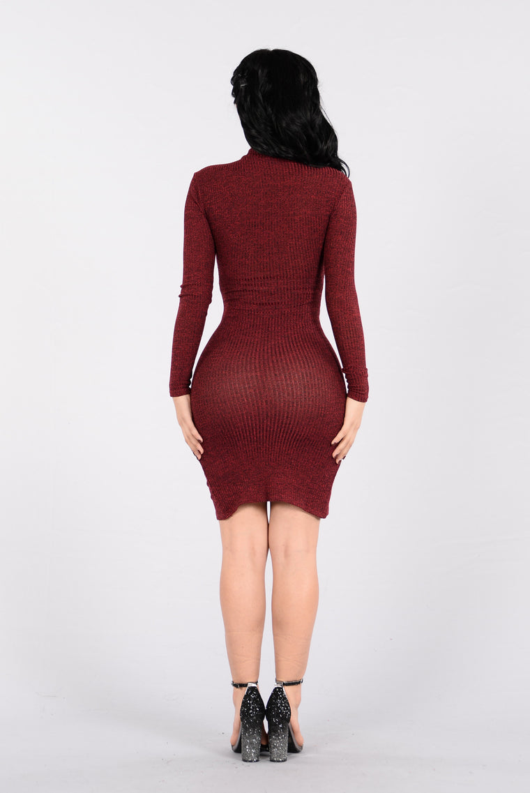 Walking Through The City Streets Dress - Burgundy