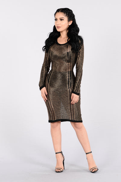Biggest Smile Dress - Black/Gold