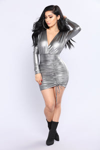 Up In Space Metallic Dress - Silver