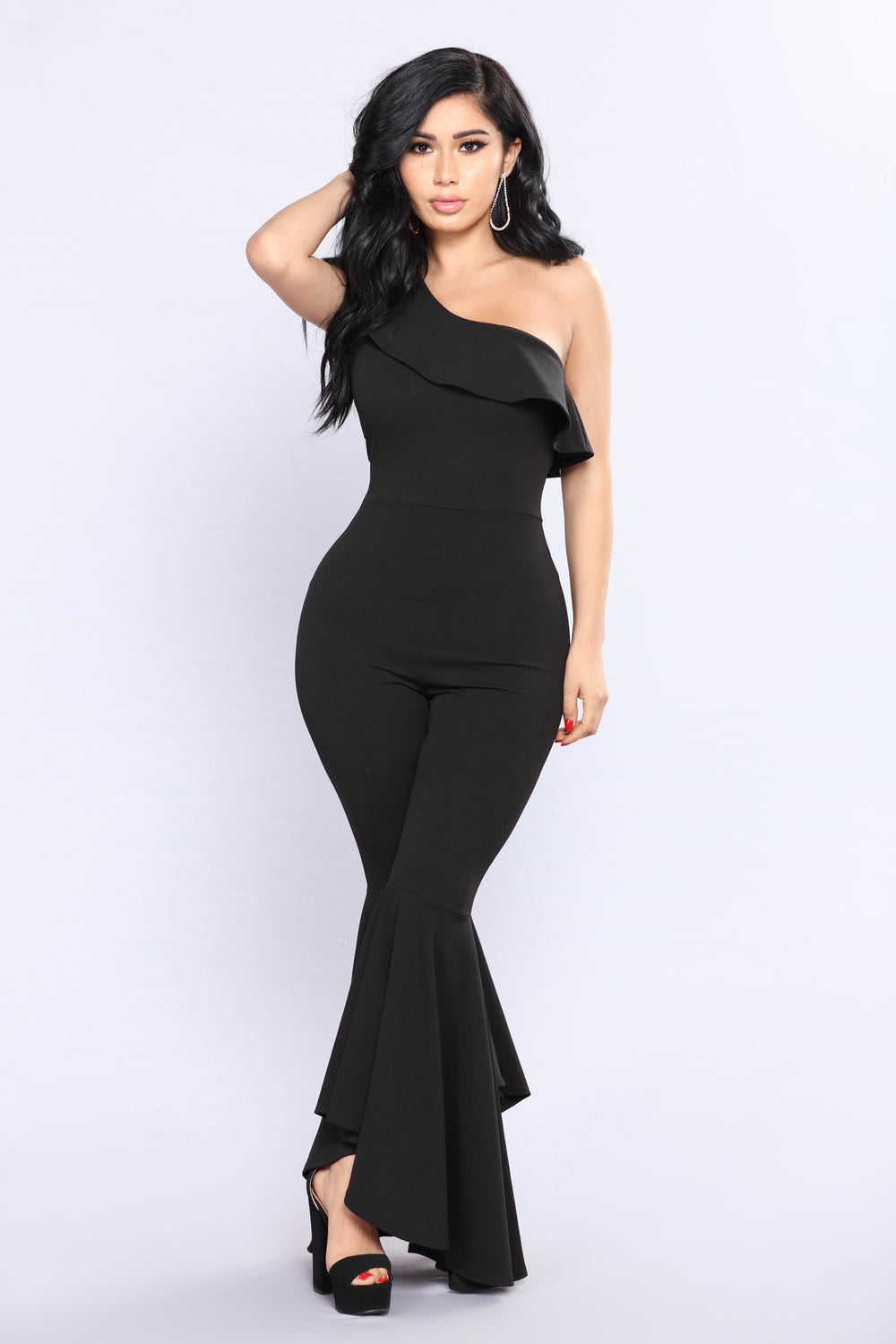 Chocolate Truffle Ruffle Jumpsuit - Black