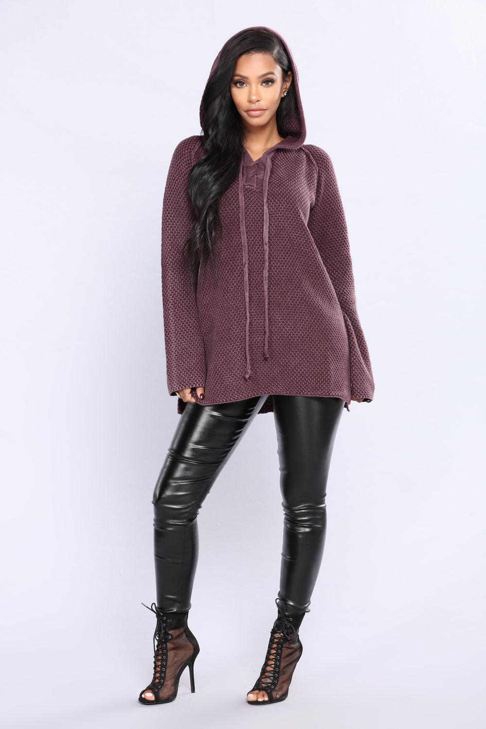 Most Addictive Hooded Sweater - Plum
