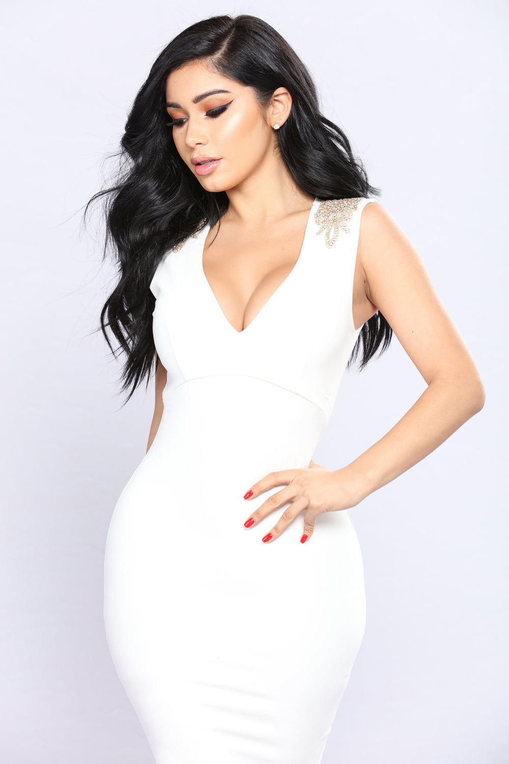 Show Up Unexpected Rhinestone Dress - Ivory