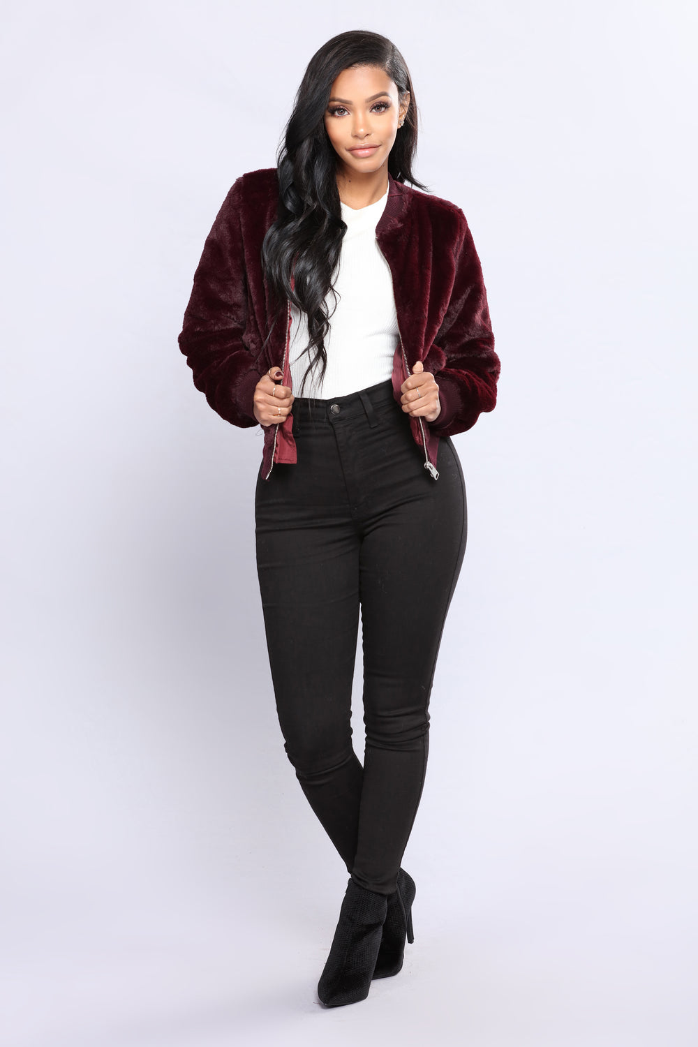 Feel My Love Faux Fur Jacket - Plum