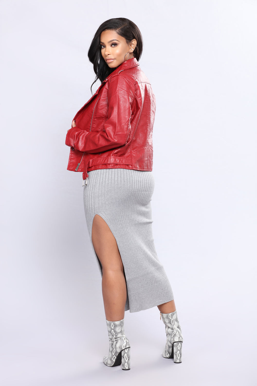 Araxie Vegan Leather Jacket - Red
