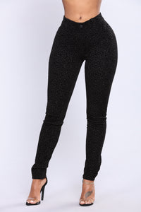 Viviana Flocked Leggings - Black