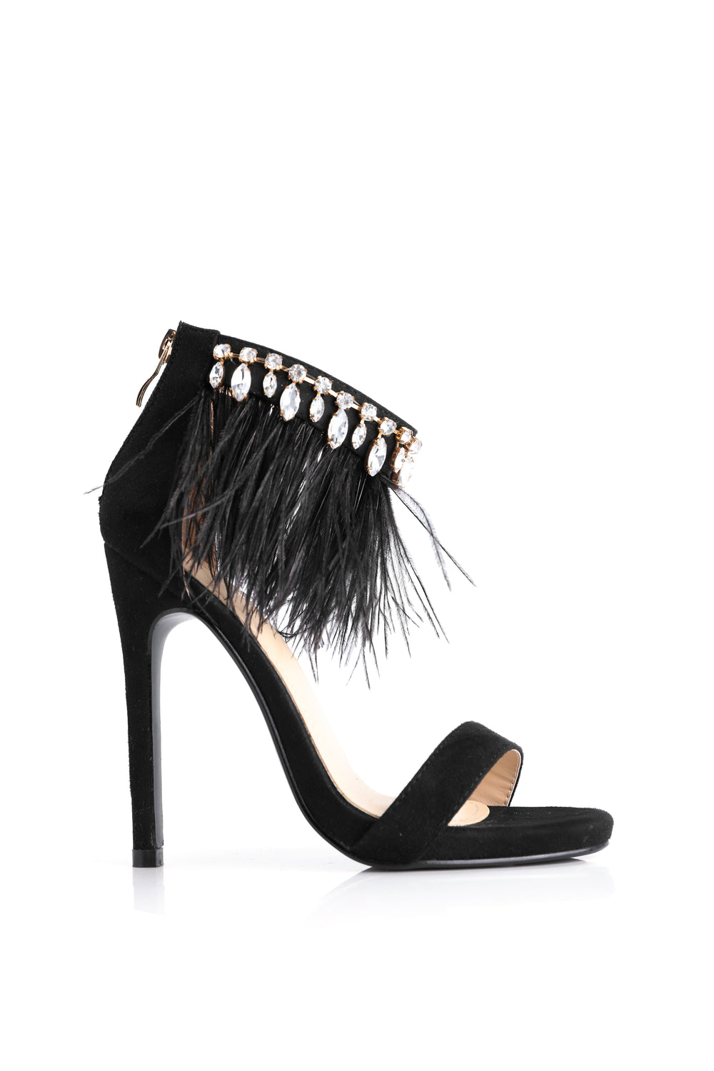 Fancy Feather Heel - Black