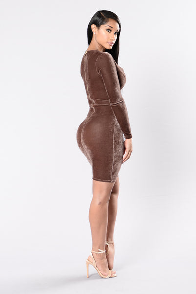 Make You Miss Me Dress - Pastel Brown