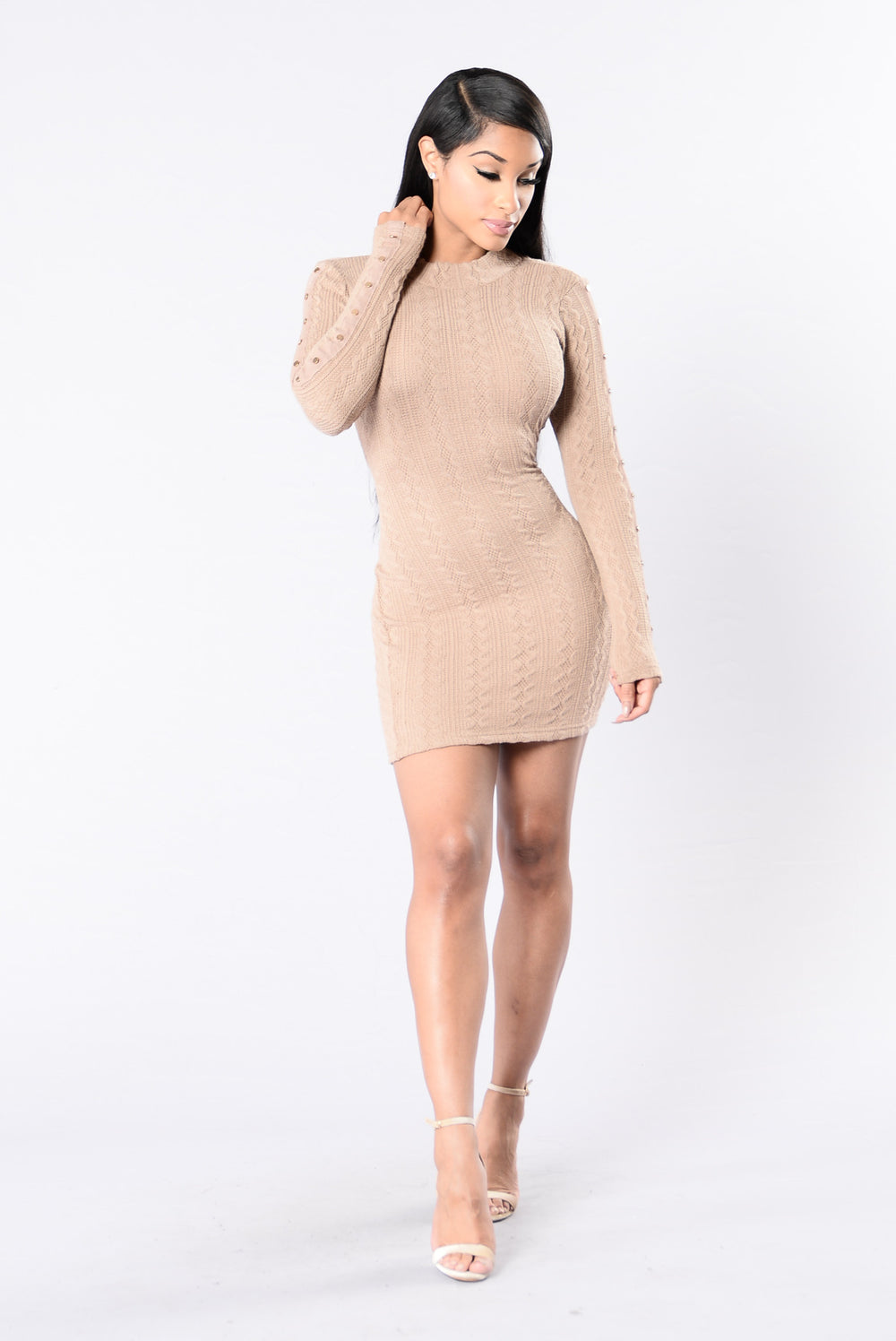 Button Me Down Dress - Taupe