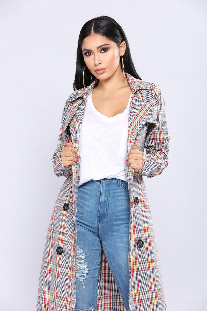 Arabelle Plaid Trench - Multi