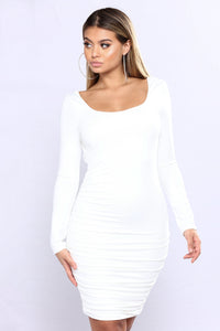Karis Ruched Dress - Ivory