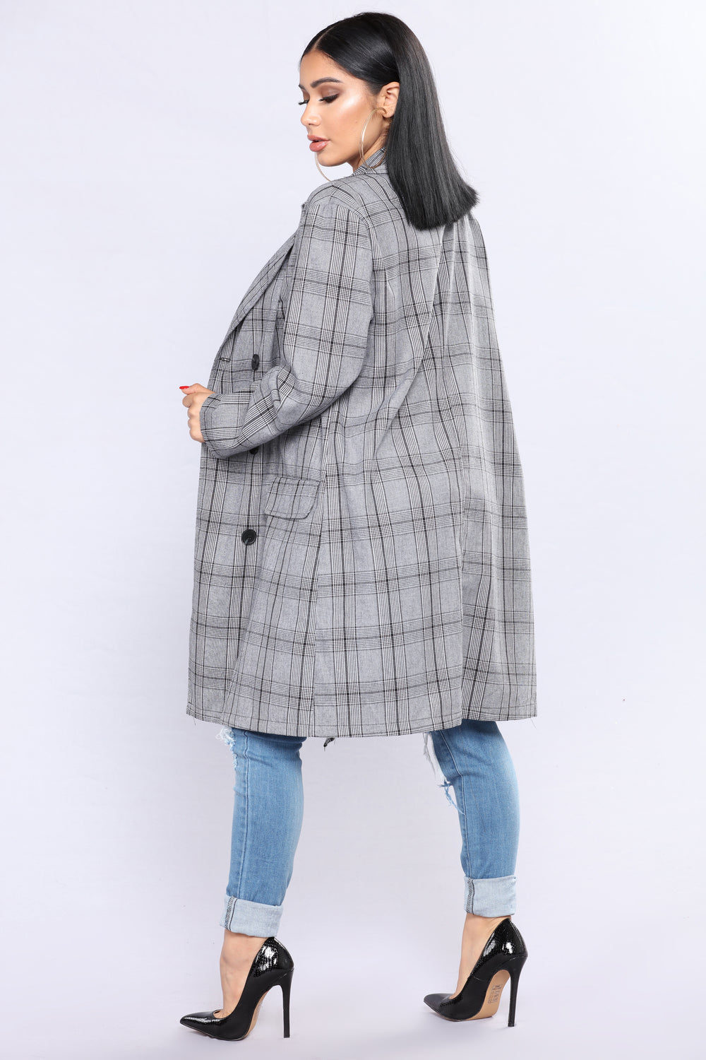 Dress Code Plaid Jacket - Black/White