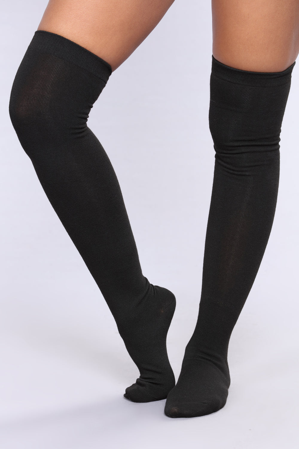 Warm Me Up Thigh High Socks - Black