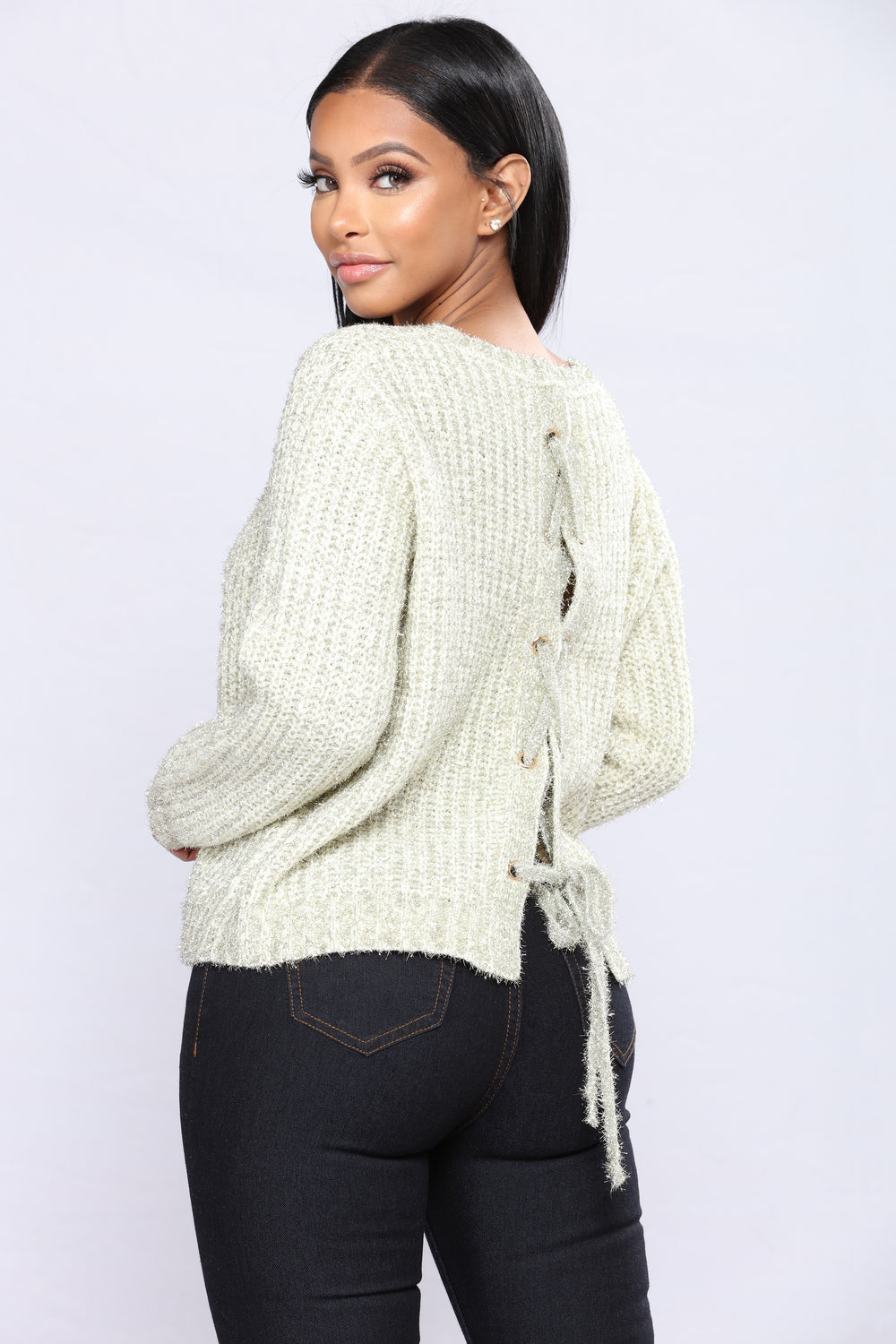 Shelly Lace Up Sweater - Ivory