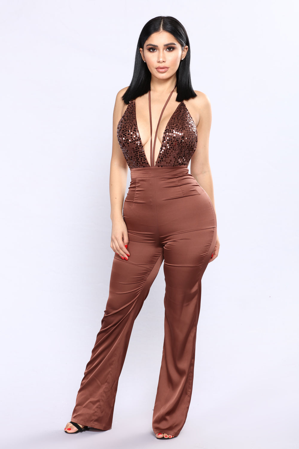 Stretch For Sequins Jumpsuit - Brown