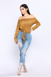 Easy Move Front Tie Top - Mustard