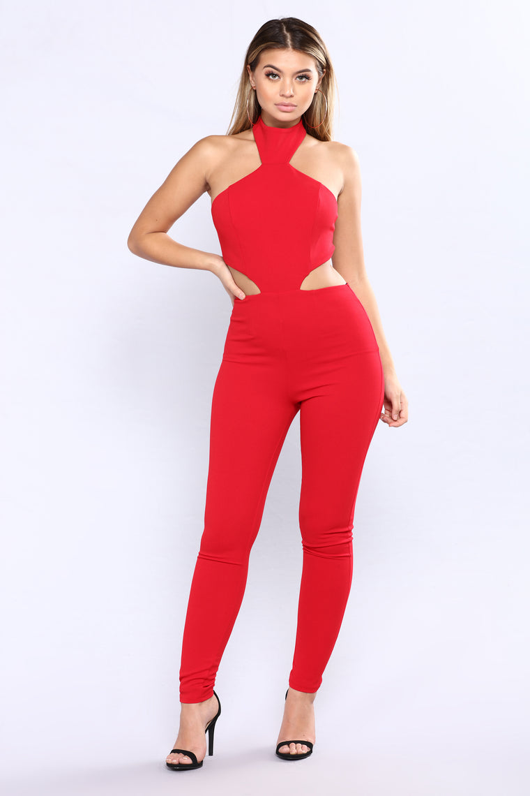 Cut To The Chase Jumpsuit - Red