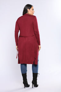 Koral Knit Cardigan - Burgundy