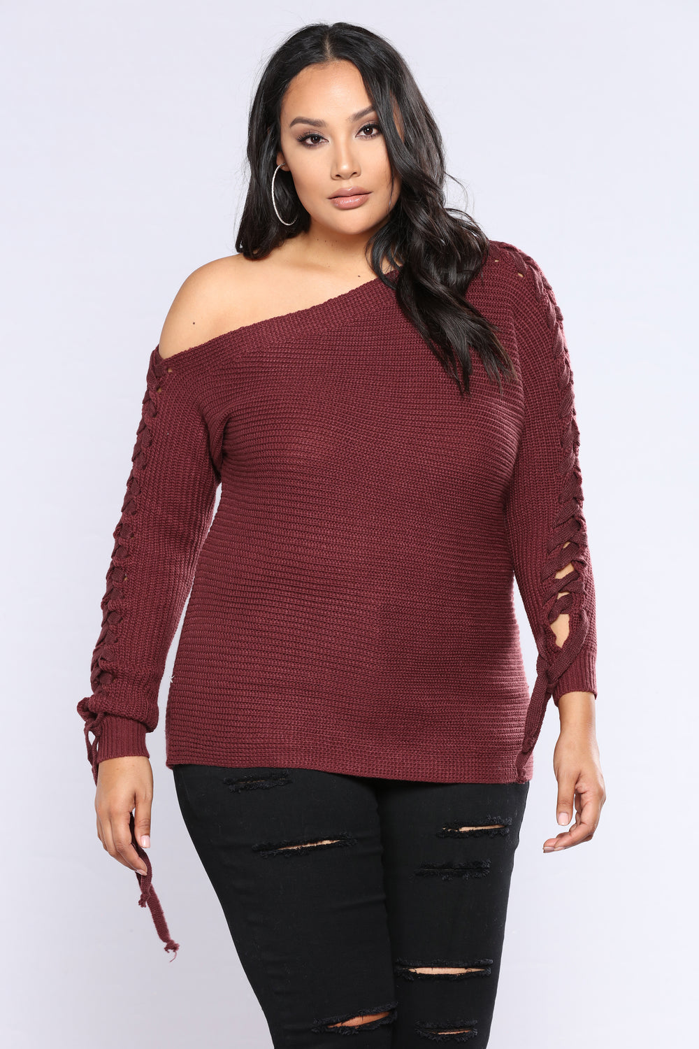 Are You Ready Lace Up Sweater - Wine