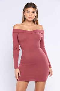 Vitality Ribbed Dress - Red Brown