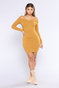 Vitality Ribbed Dress - Mustard