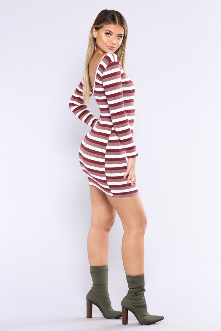 Sitcom Stripe Dress - Wine