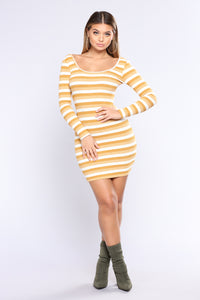 Sitcom Stripe Dress - Mustard