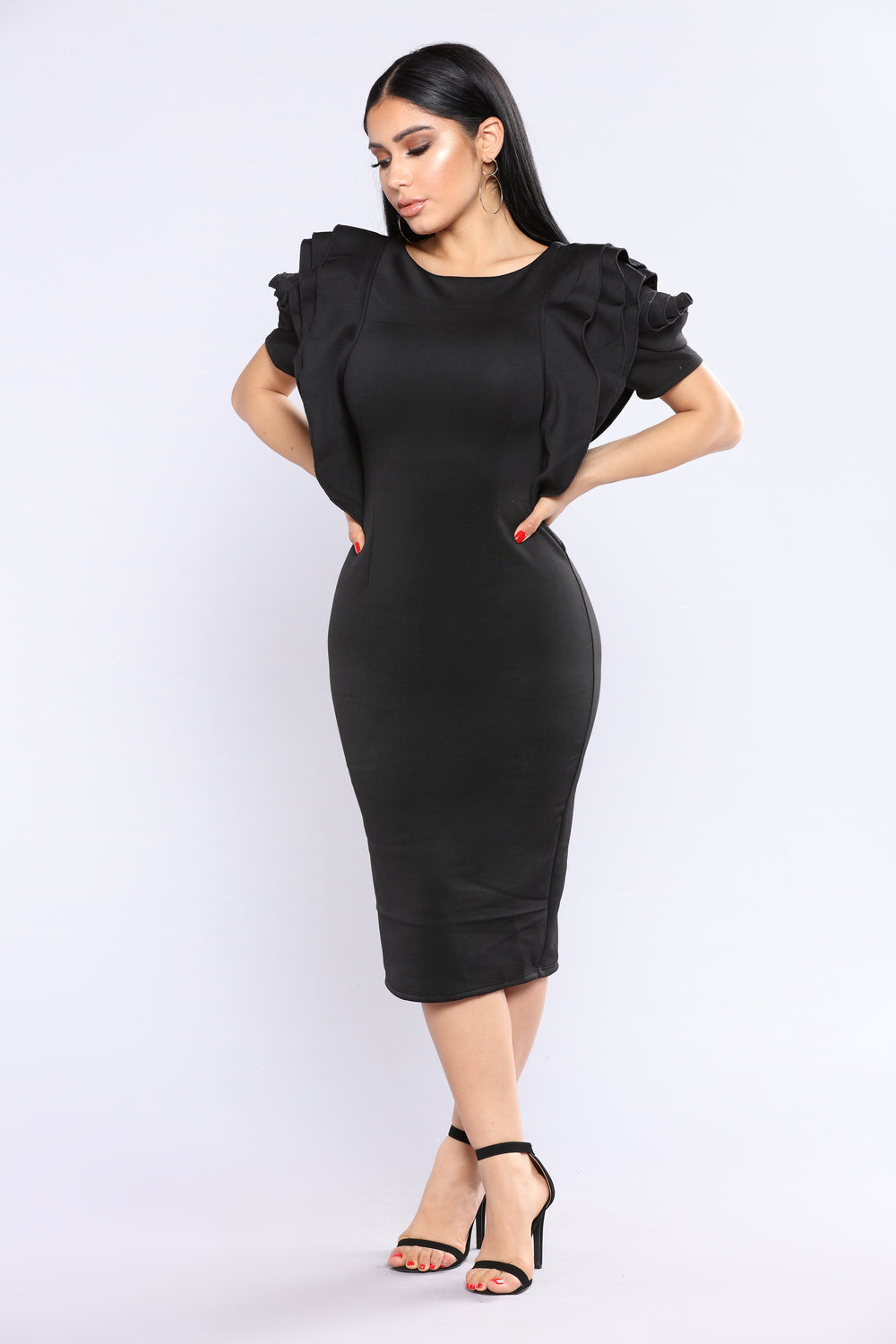 Emmy Night Rose Sleeve Dress - Black