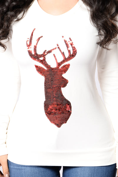 Reindeer Games Holiday Sweater - Ivory/Burgundy