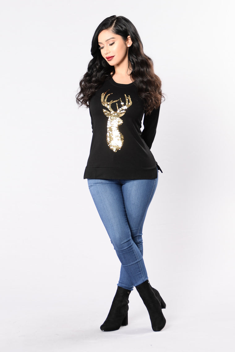 Reindeer Games Holiday Sweater - Black/Gold