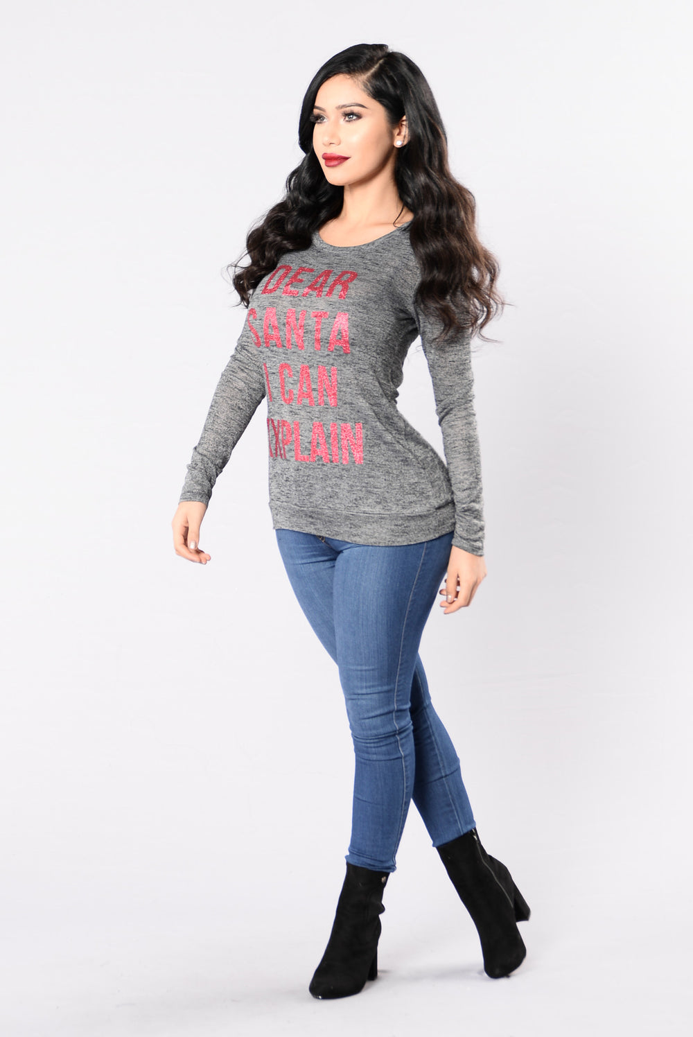 Dear Santa Holiday Sweater - Charcoal