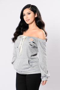 In My Shadow Top - Heather Grey Angle 3