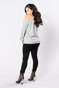 In My Shadow Top - Heather Grey Angle 5
