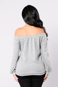 In My Shadow Top - Heather Grey Angle 2